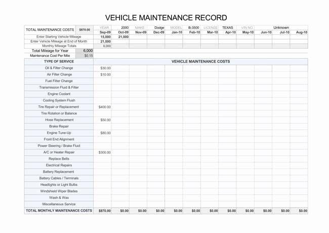Vehicle Maintenance Log Template New Printable Vehicle Maintenance Log Templates
