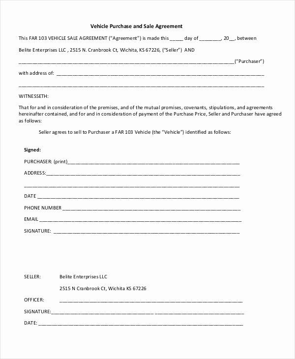 Vehicle Purchase order Pdf Beautiful Free 11 Sample Purchase and Sale Agreement forms In Pdf