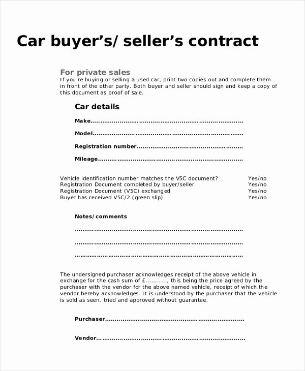 Vehicle Purchase order Pdf Unique Free 10 Sample Purchase Agreement forms In Word Pdf