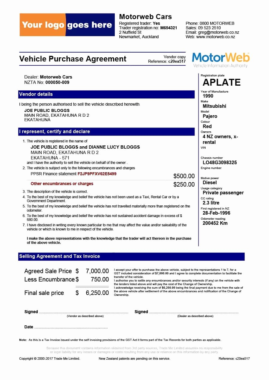 Vehicle Purchase order Template Inspirational 42 Printable Vehicle Purchase Agreement Templates Template Lab
