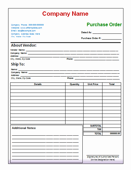 Vehicle Purchase order Template Inspirational Purchase order Template Free Printables