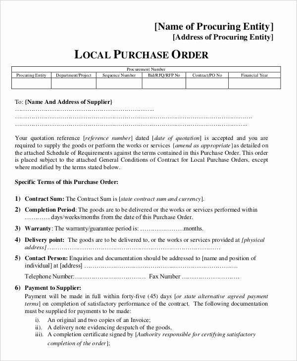 Vehicle Purchase order Template Unique 15 Purchase order Templates