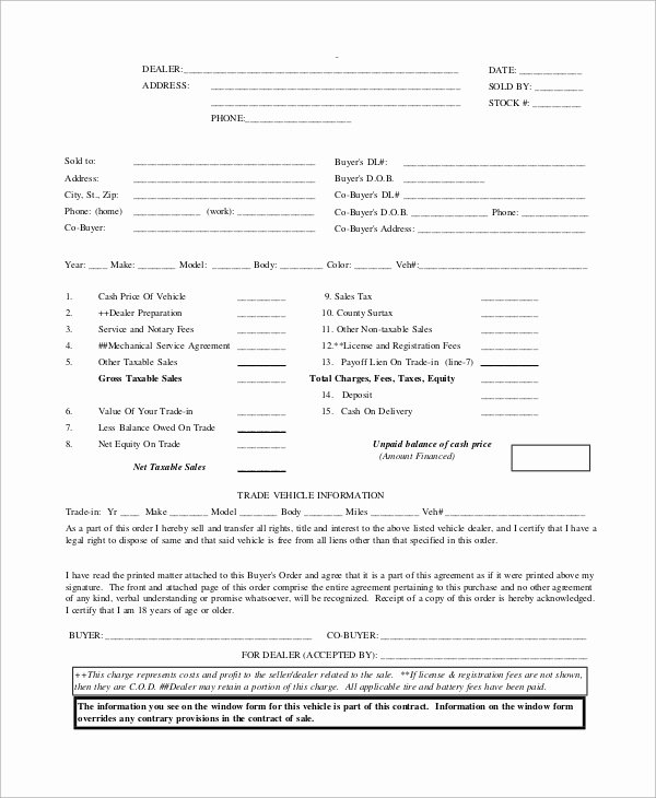 Vehicle Purchase order Template Unique Sample Purchase order 41 Examples In Word Pdf