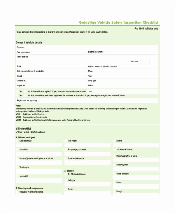 Vehicle Safety Inspection Checklist Template New Truck Maintenance Checklist Template