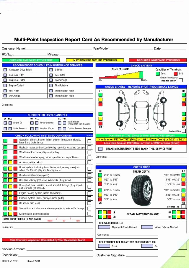Vehicle Safety Inspection Checklist Template Unique Free Printable Vehicle Inspection form Free Download Printable Templates Lab
