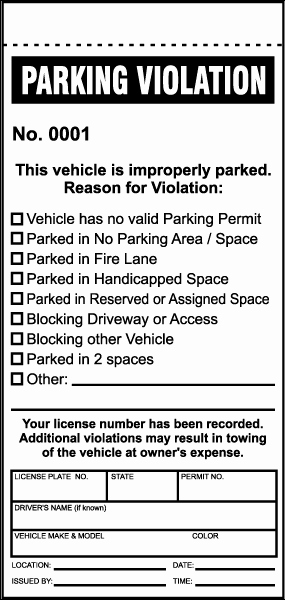 Vehicle Sign Out Sheet Fresh Parking Violation Ticket by Safetysign Y6008