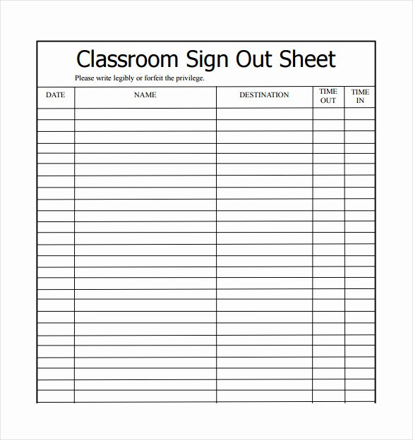 Vehicle Sign Out Sheet Inspirational 19 Sign Out Sheet Templates Free Sample Example format Download
