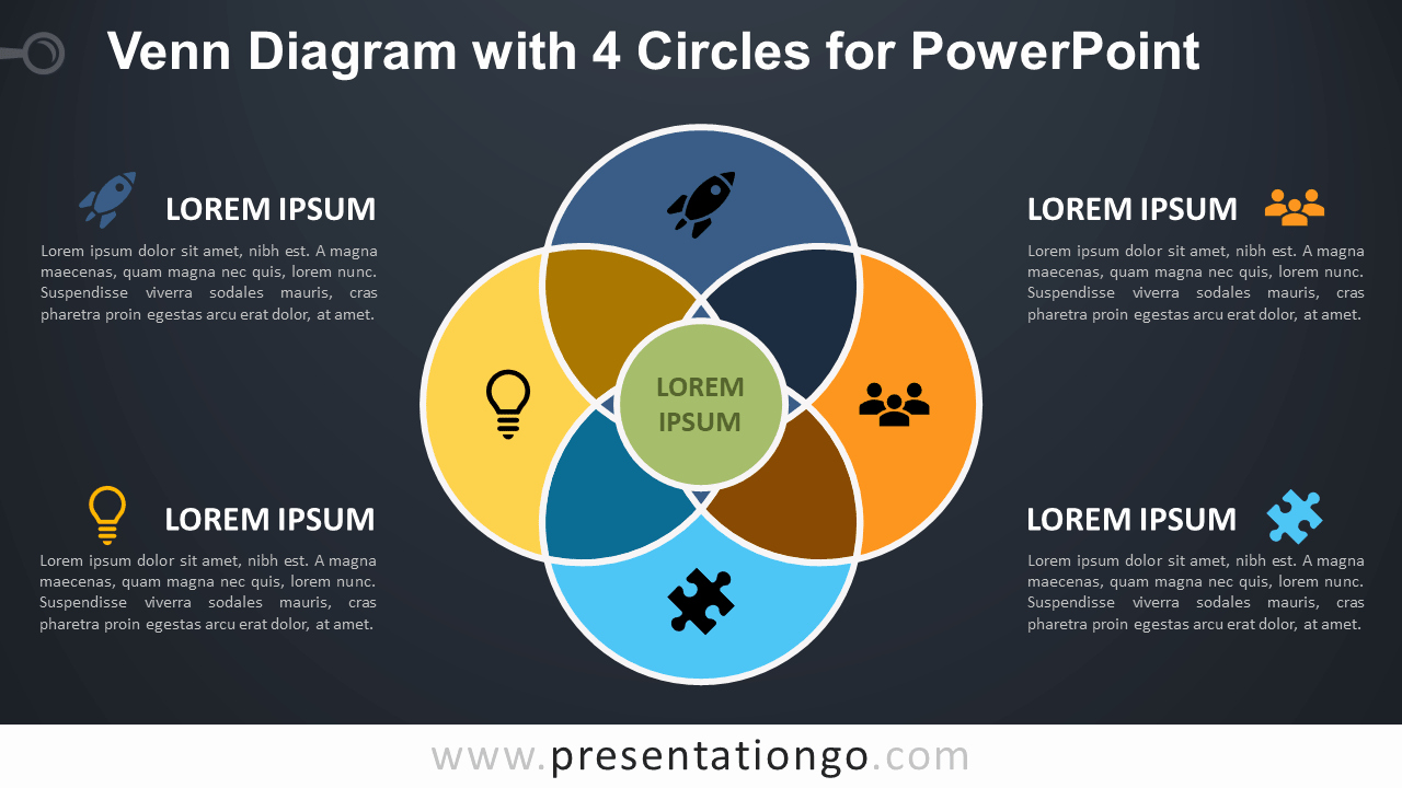 Venn Diagram Template Powerpoint Elegant Venn Diagram with 4 Circles for Powerpoint Presentationgo