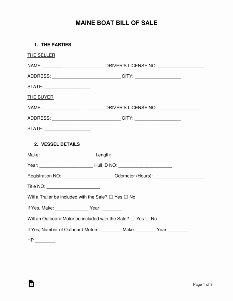 Vessel Bill Of Sale Awesome Free Maine Boat Bill Of Sale form Word Pdf