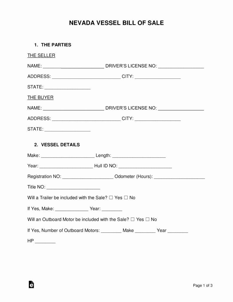 Vessel Bill Of Sale Best Of Free Nevada Vessel Bill Of Sale form Pdf Word