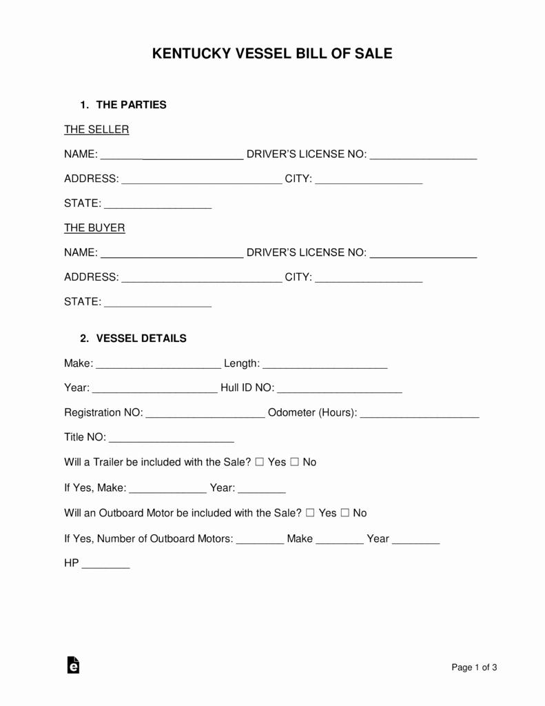 Vessel Bill Of Sale Inspirational Free Kentucky Vessel Bill Of Sale form Word Pdf
