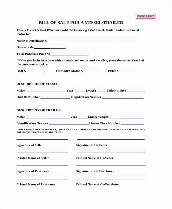 Vessel Bill Of Sale Luxury Free 32 Bill Of Sale forms