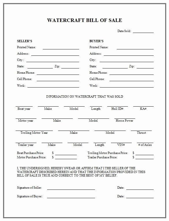Vessel Bill Of Sale Luxury Free Printable Boat Bill Sale form Generic