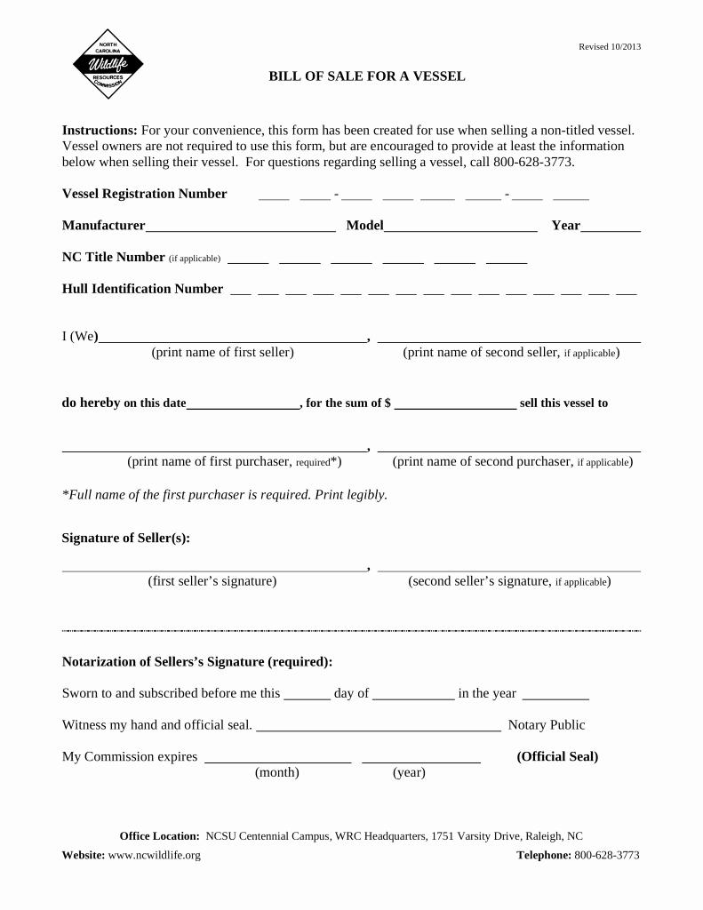 Vessel Bill Of Sale New Free north Carolina Vessel Bill Of Sale form Pdf