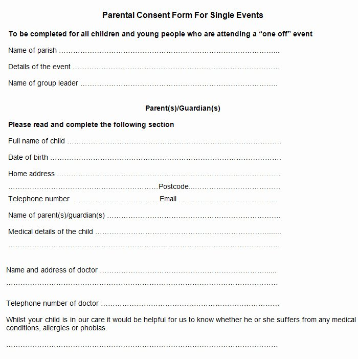 Video Consent form Template Fresh Sample Parental Consent form