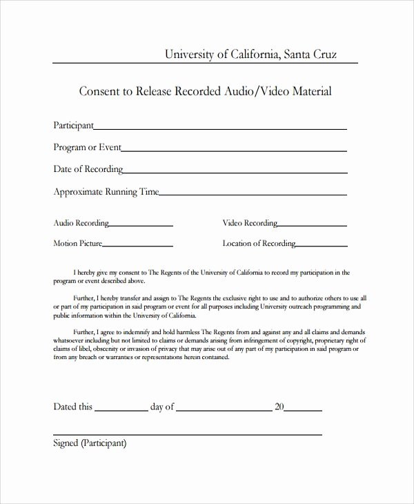 Video Consent form Template Lovely Sample Video Consent form 9 Free Documents Download In