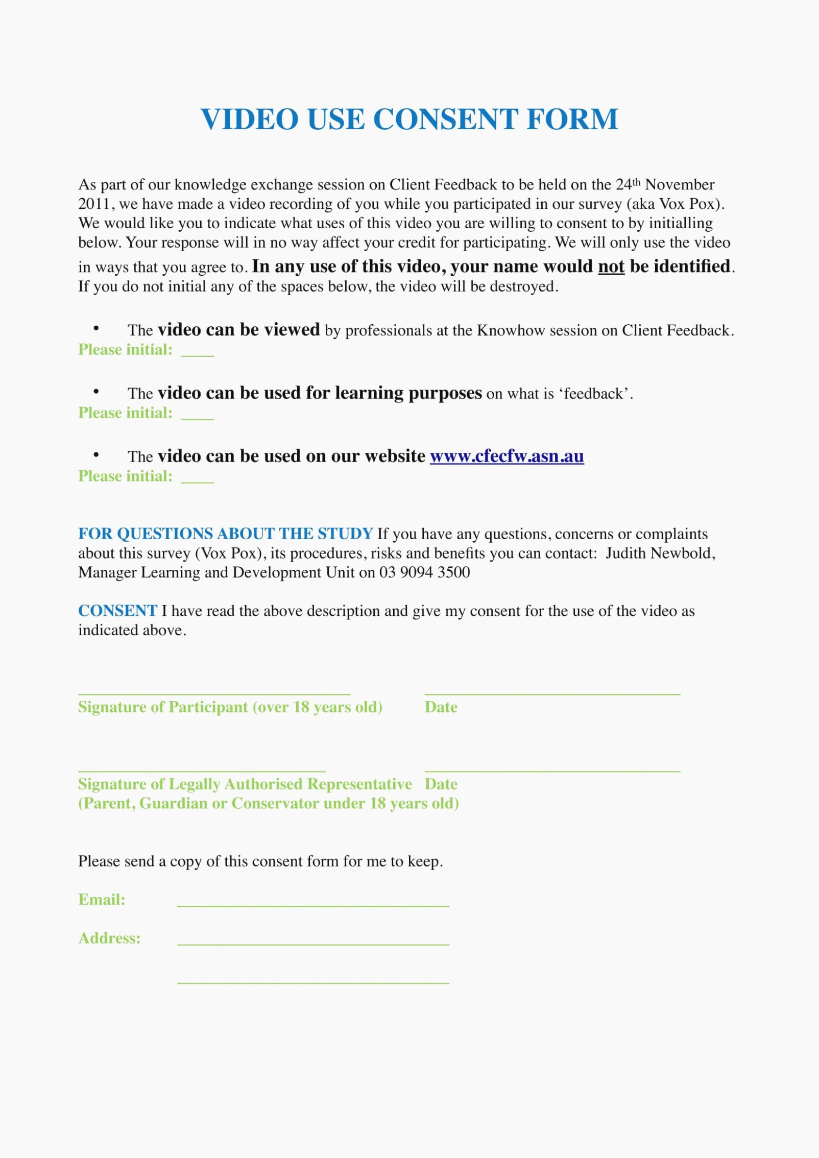 Video Consent form Template New Video Consent form is so