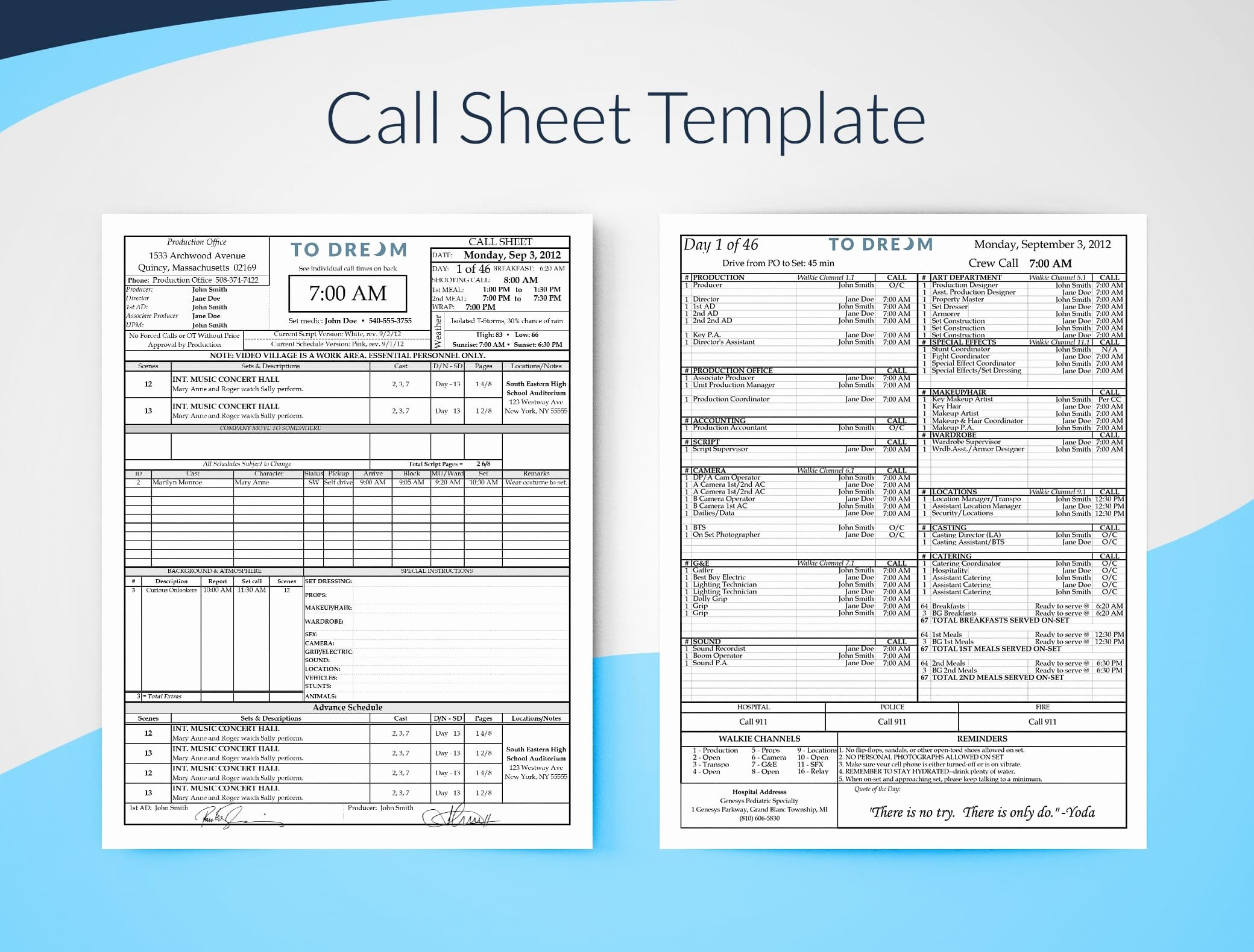 Video Production Quote Template Awesome Call Sheet Template for Excel Free Download