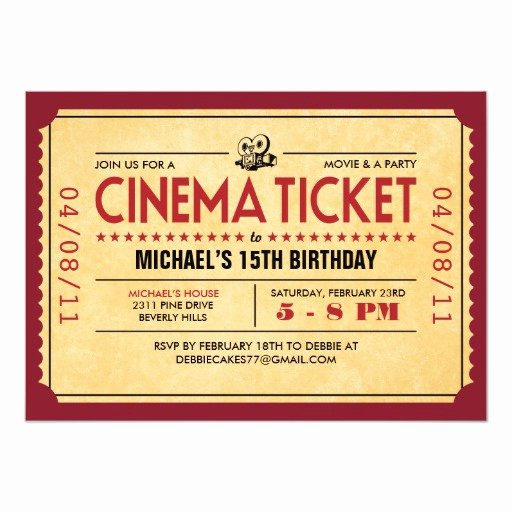Vintage Movie Ticket Template Beautiful Retro Movie Ticket Invitations