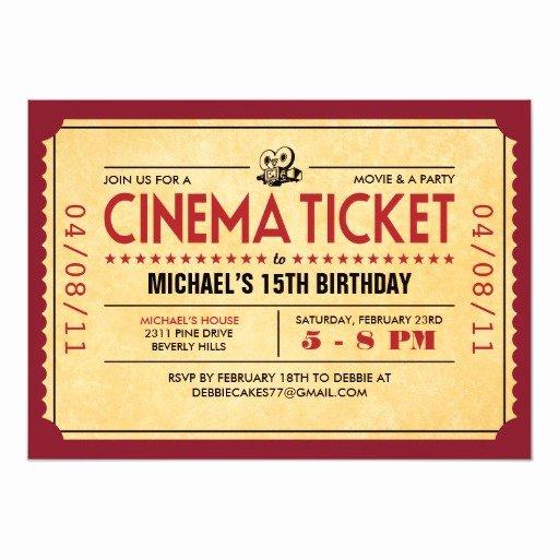 Vintage Movie Ticket Template Beautiful Retro Movie Ticket Invitations