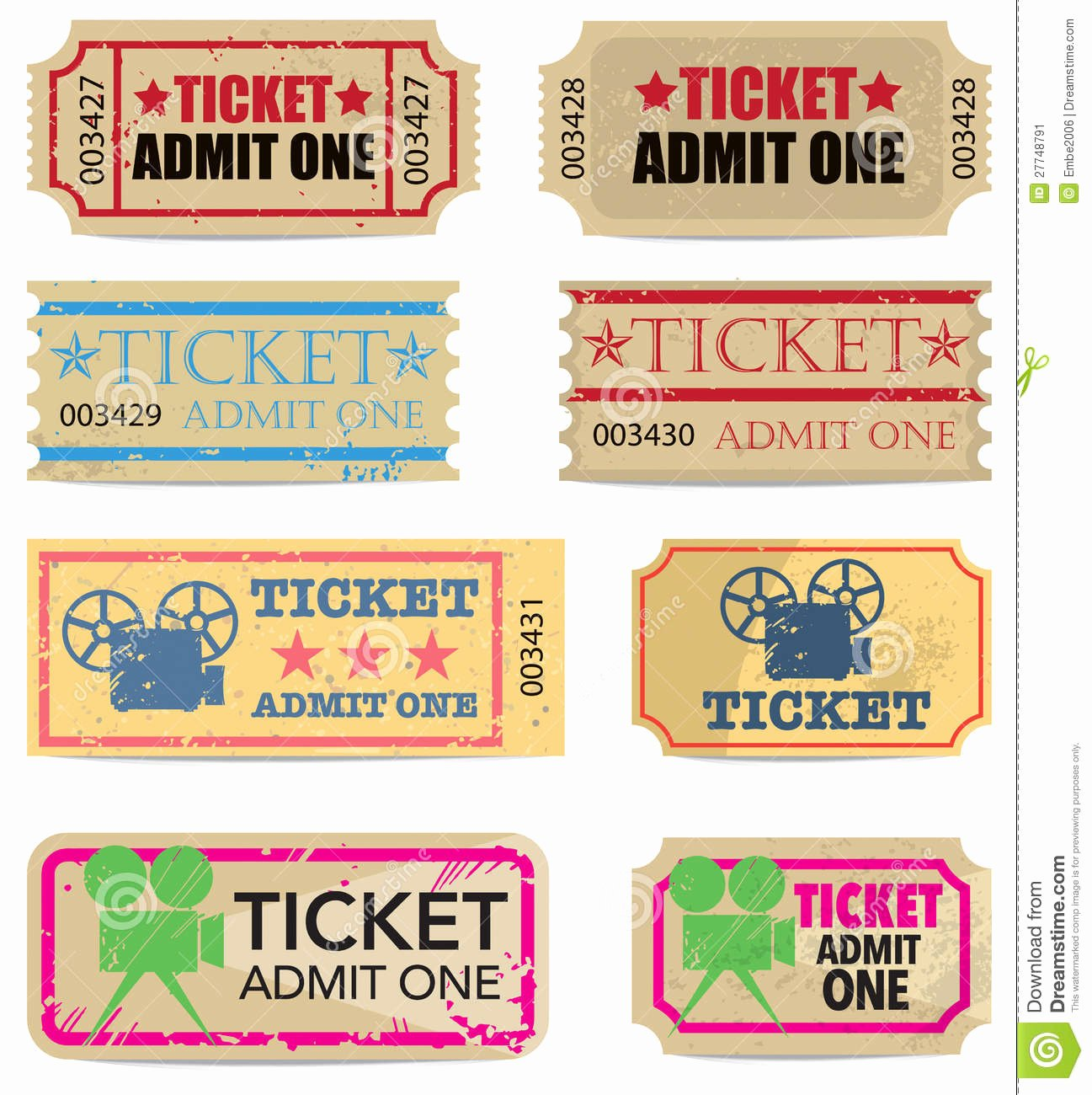 Vintage Movie Ticket Template Best Of Vintage Tickets Stock Vector Illustration Of Illustration