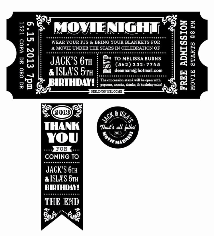 Vintage Movie Ticket Template Inspirational Customized Movie Ticket Invitation Printable by