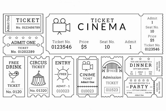 Vintage Movie Ticket Template Inspirational Ticket Templates Pack Illustrations On Creative Market