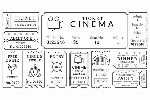 Vintage Movie Ticket Template Inspirational Ticket Templates Pack Illustrations On Creative Market