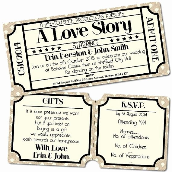 Vintage Movie Ticket Template Inspirational Wedding Invitation Suite Cinema Ticket Art Deco Design