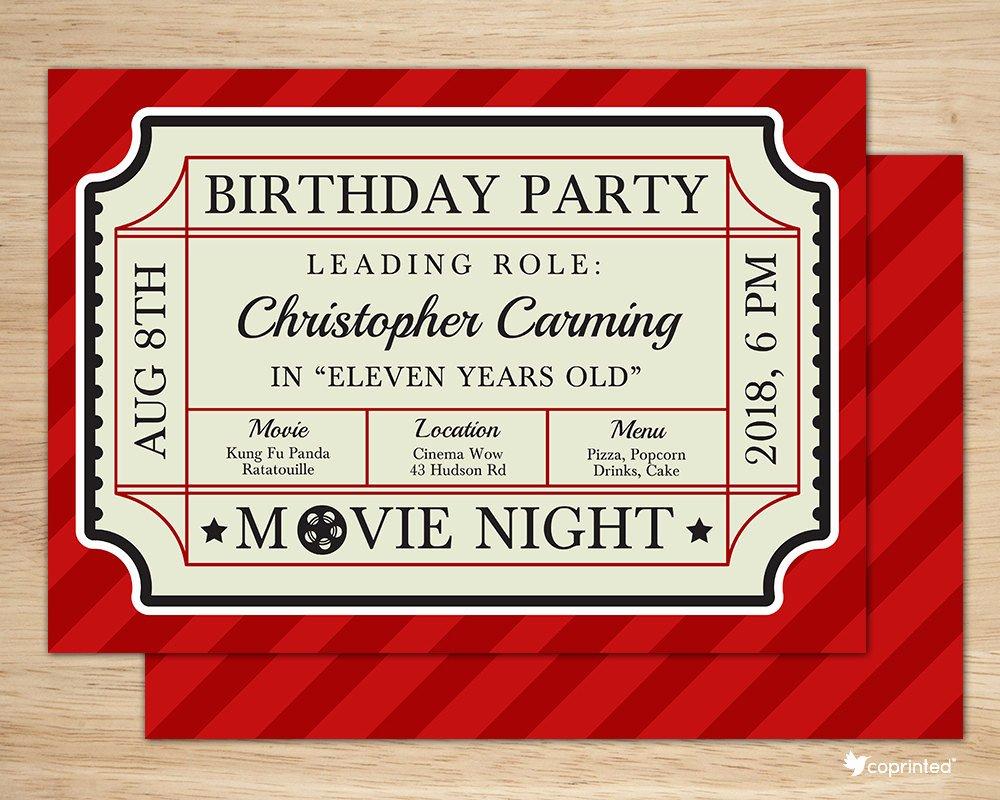 Vintage Movie Ticket Template Lovely Classic Movie Ticket Birthday Party Invitation Birthday