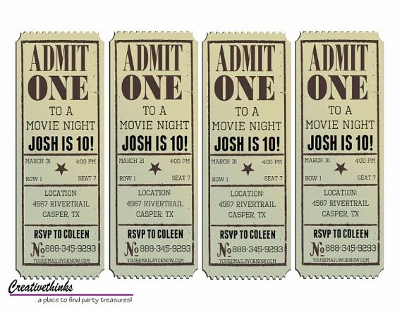 Vintage Movie Ticket Template Lovely Editable Vintage Movie Ticket Invitation Digital File