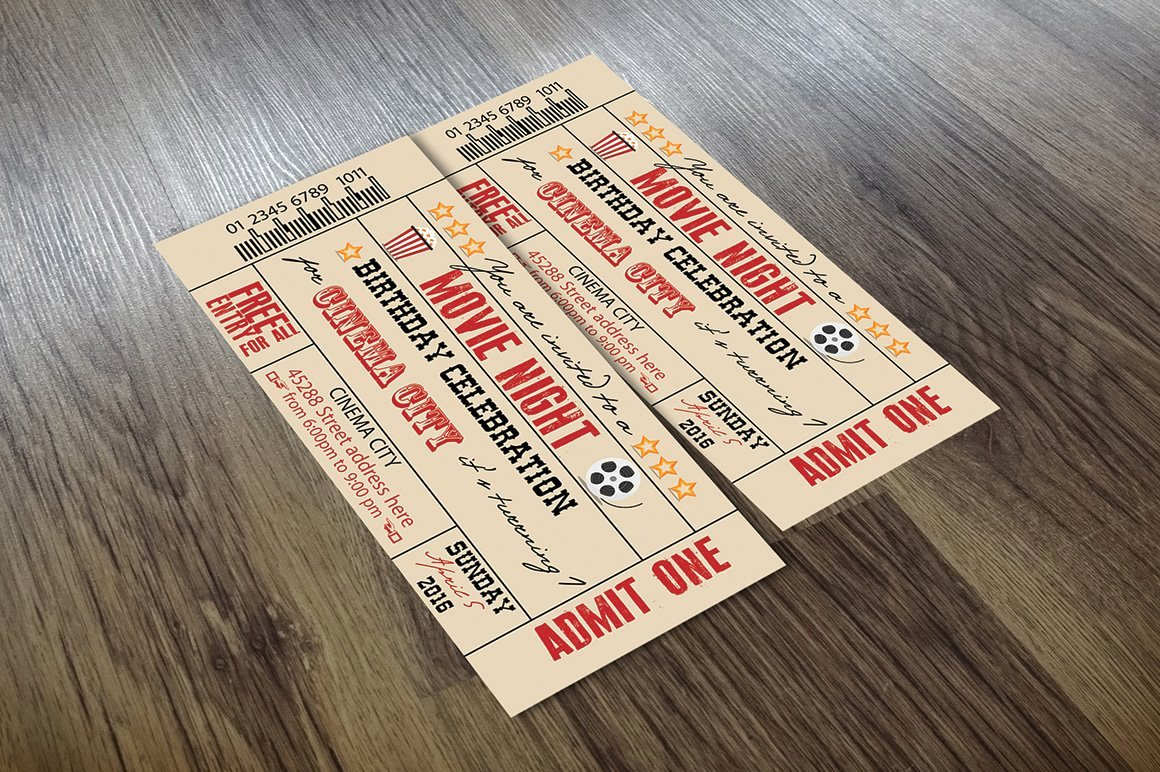 Vintage Movie Ticket Template Lovely Vintage Movie Ticket Card Templates Creative Market