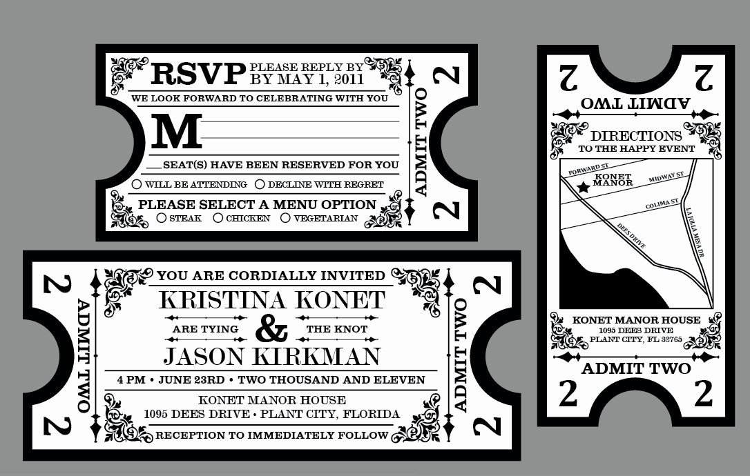 Vintage Movie Ticket Template Luxury Rustic Wedding Invitations Vintage Antique by Jkdesignorlando