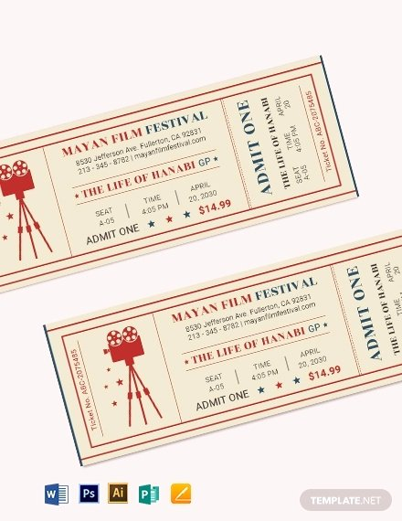 Vintage Movie Ticket Template New 29 Best Movie Ticket Examples Psd Ai