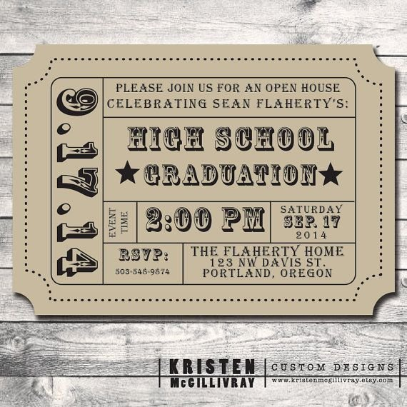 Vintage Movie Ticket Template New Graduation Party Party Invitation Diy Digital File