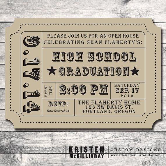 Vintage Movie Ticket Template New Graduation Party Party Invitation Diy Digital File