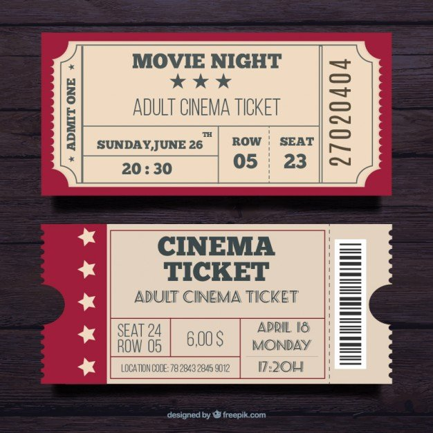 Vintage Movie Ticket Template Unique Admit E Ticket Vectors S and Psd Files