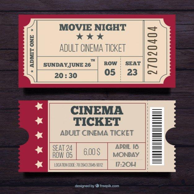 Vintage Movie Ticket Template Unique Admit E Ticket Vectors S and Psd Files