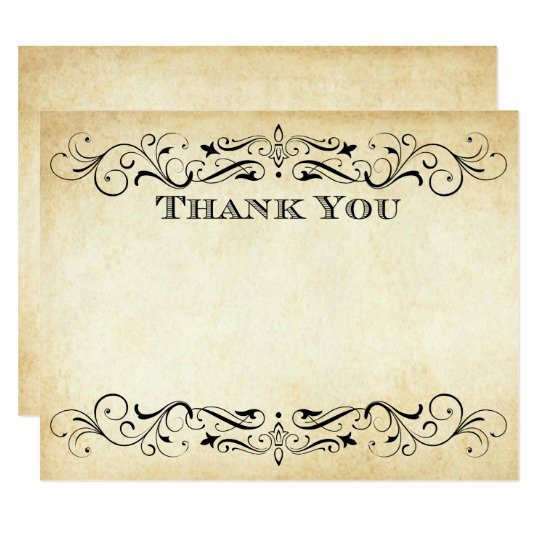 Vintage Thank You Cards Lovely Flat Wedding Thank You Cards Vintage Flourish