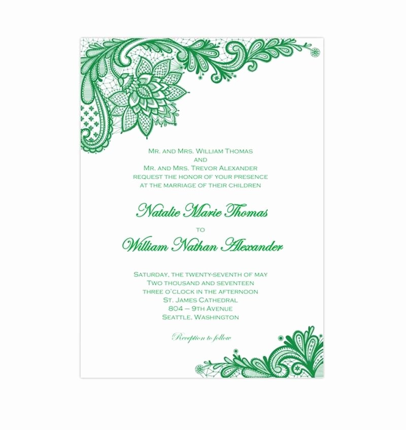 Vintage Wedding Invites Templates Awesome Vintage Lace Wedding Invitation Emerald Green Wedding