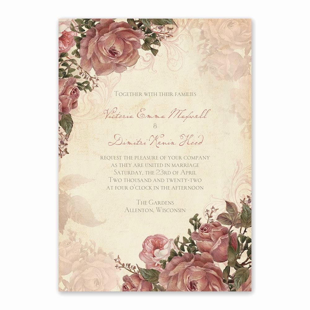 Vintage Wedding Invites Templates Awesome Vintage Roses Invitation with Free Response Postcard