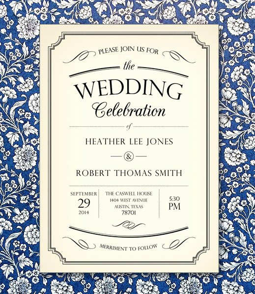 Vintage Wedding Invites Templates Awesome Vintage Type Wedding Invitation Template – Download & Print