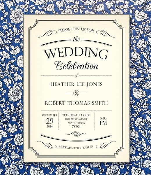 Vintage Wedding Invites Templates Awesome Vintage Type Wedding Invitation Template – Download & Print