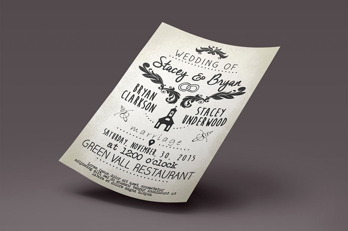 Vintage Wedding Invites Templates Elegant Vintage Wedding Invitation Template Graphicfy