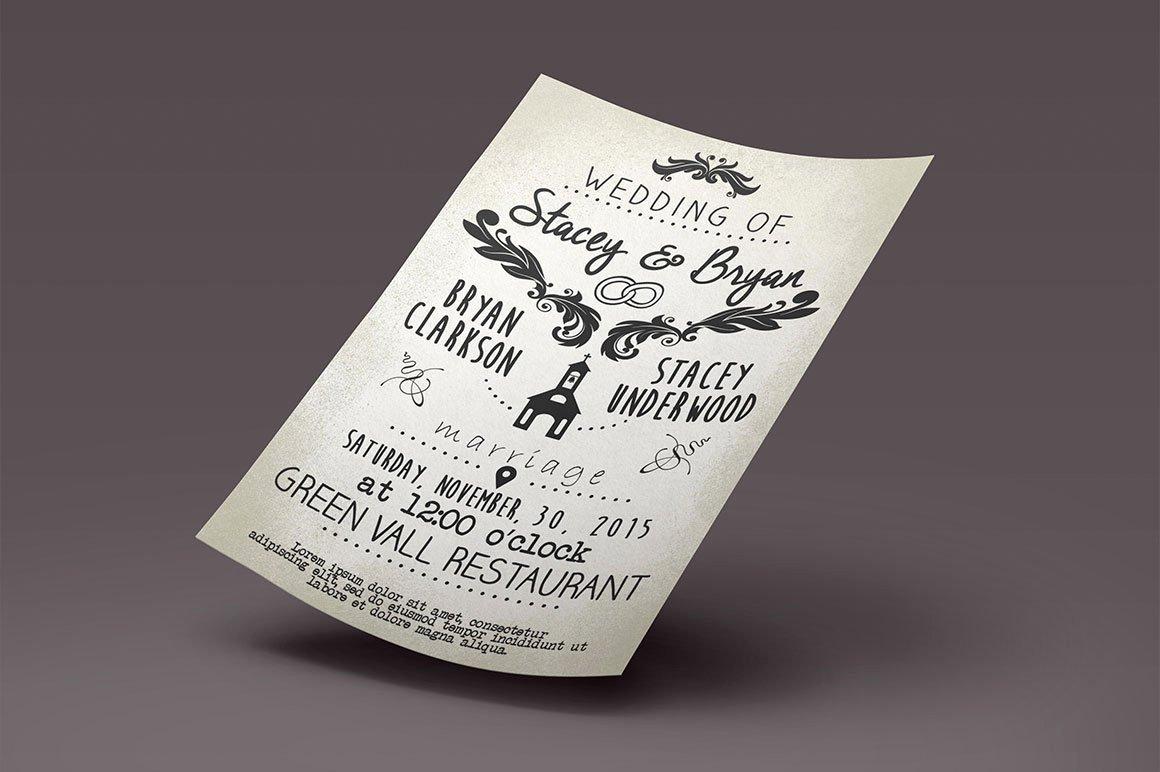 Vintage Wedding Invites Templates Elegant Vintage Wedding Invitation Template Graphicfy