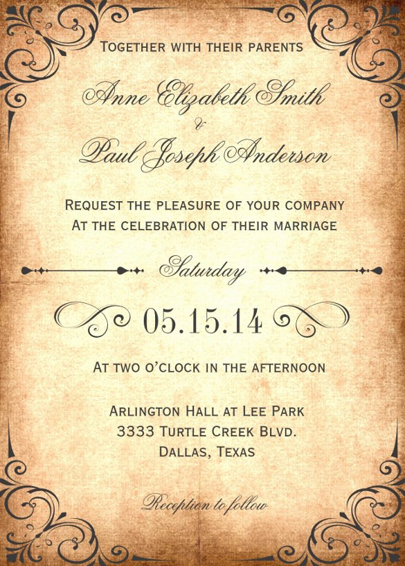 Vintage Wedding Invites Templates Fresh 27 Wedding Invitation Wording Templates – Free Sample