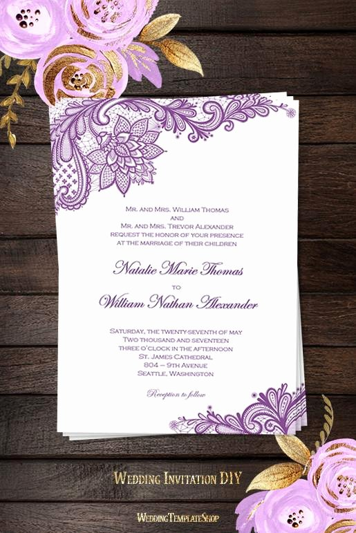 Vintage Wedding Invites Templates Inspirational Vintage Lace Wedding Invitation Purple Wedding Template Shop