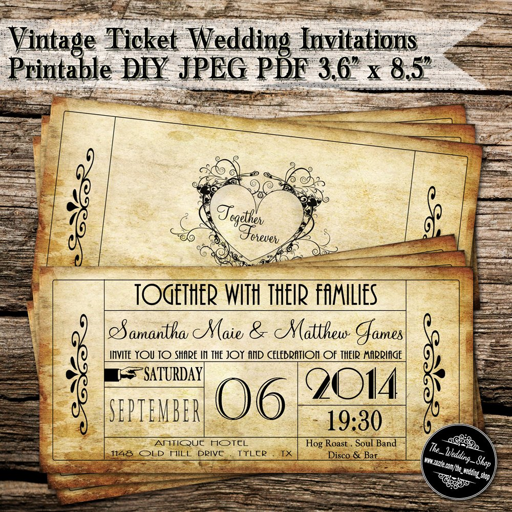 Vintage Wedding Invites Templates Inspirational Vintage Ticket Wedding Invitations Printable Diy Jpeg Pdf