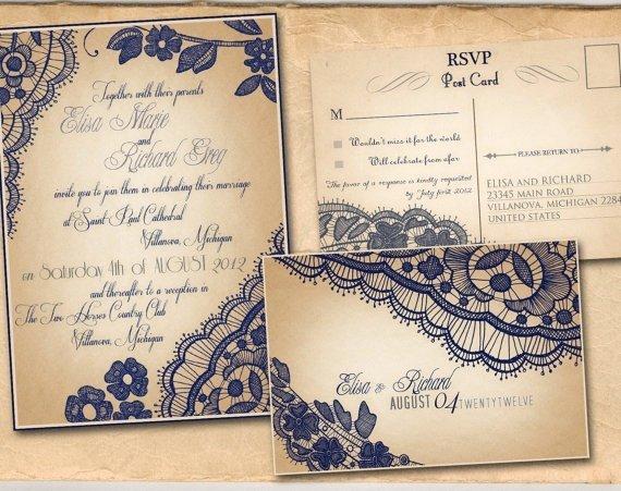 Vintage Wedding Invites Templates Lovely Printable Vintage Wedding Invitations Template Navy by