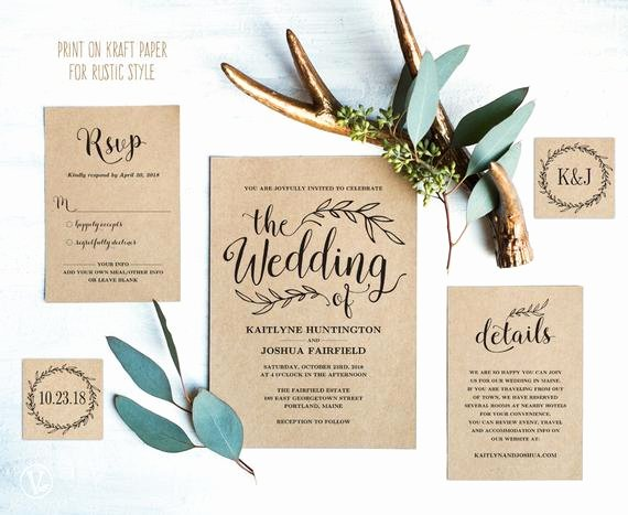 Vintage Wedding Invites Templates Lovely Vintage Wedding Invitation Suite Printable Wedding Invitation
